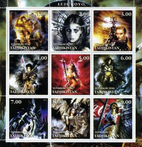 Tajikistan 2001 LUIS ROYO FANTASY ART Sheet Perforated Mint (NH)