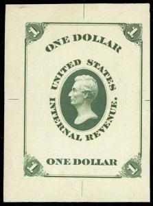 TURNER ESSAY 20a, $1 GREEN LINCOLN ON IVORY PAPER