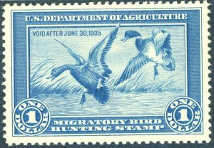 RW1 1934 FEDERAL DUCK STAMP GRADE 90 XF NH. LARGE MARGINS