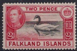 Falkland Islands 1938 - 50 KGV1 2d Black Neck Swan Umm SG 150 ( G392 )