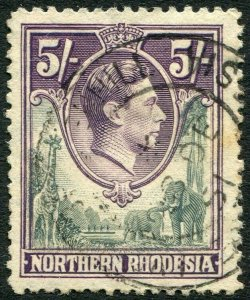 NORTHERN RHODESIA-1938-52 5/- Grey & Dull Violet Sg 43 GOOD USED V35992
