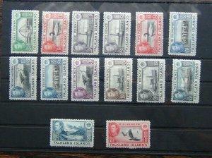 Falkland Islands 1938 - 1950 to 1/3 Black & Carmine MM 1/2d 1d Violet Unused