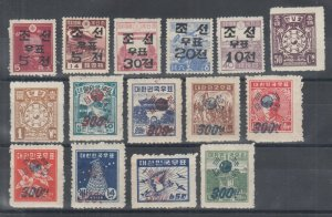 Korea Sc 55/181 MLH. 1946-51 issues, 15 diff better singles, few NH, nice group.
