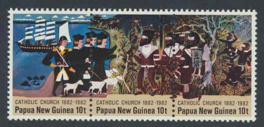 Papua New Guinea SG SG 457  458 459  se-tenant strip - Catholic Church -  MUH
