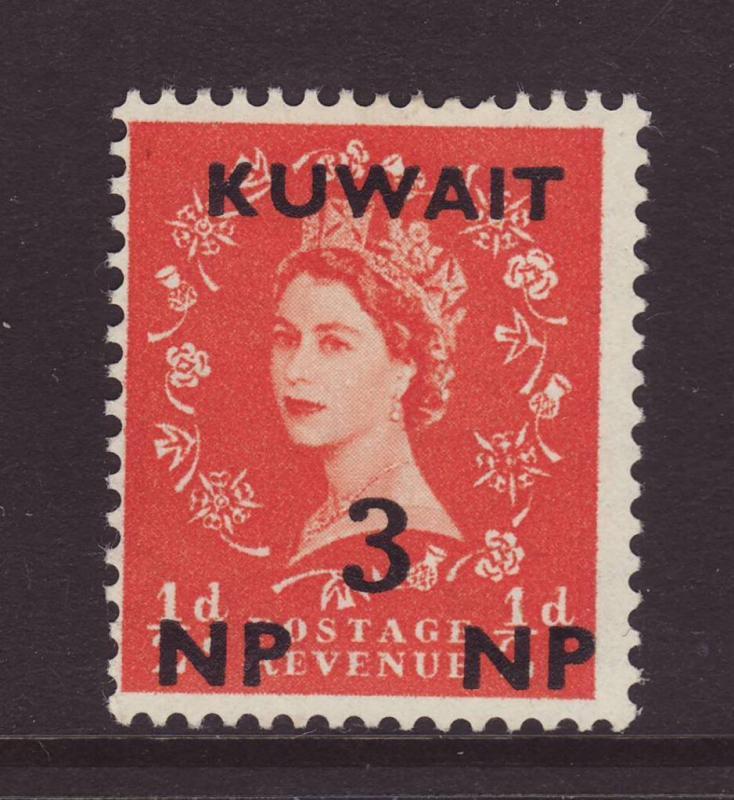 1957 Kuwait 3np Opt On GB ½d Mint