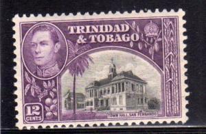TRINIDAD AND E TOBAGO 1938 KING GEORGE VI TOWN HALL SAN FERNANDO CENT. 12c MNH