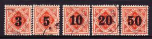 WURTTEMBERG 1923  OFFICIALS SET 5   FU   Mi 184/188I