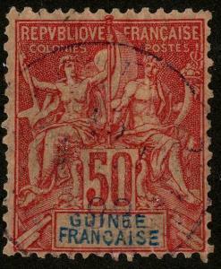 HERRICKSTAMP FRENCH GUINEA Sc.# 14 Used  Scott Retail $47.00
