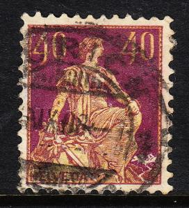 SWITZERLAND — SCOTT 136a—  HELVETIA W.DESIGNER'S NAME — USED — THIN — SCV $82.50