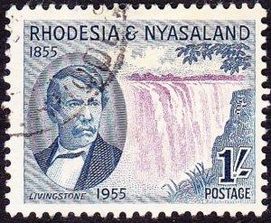 RHODESIA & NYASALAND 1955 QEII 1/- Purple & Deep-Blue SG17 FU