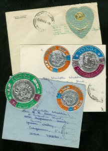 EDW1949SELL : TONGA Nice Commercial usage of 2 covers & 1 aerogram to Fiji.