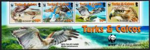 Turks and Caicos Birds WWF Red-tailed Hawk Bottom Strip of 4v with WWF Logo