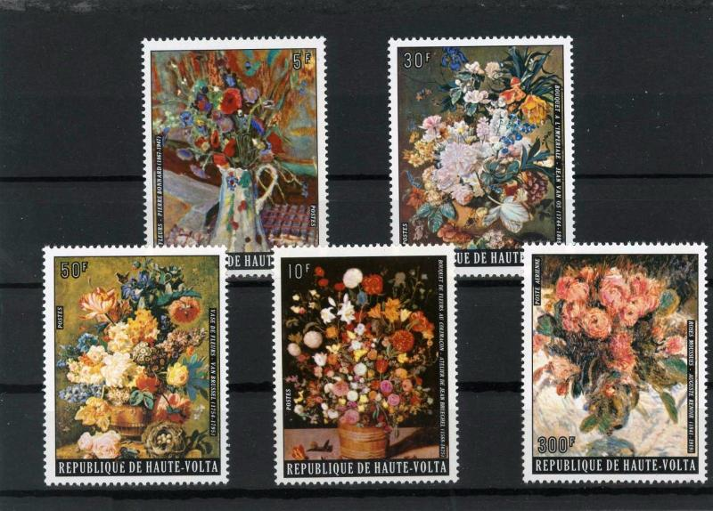 UPPER VOLTA 1974 Sc#342-347,C201 PAINTINGS/FLOWERS SET OF 5 STAMPS MNH