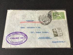 Uruguay 1935 Condor Zeppelin Lufthansa to Birminham stamps cover  Ref R28633