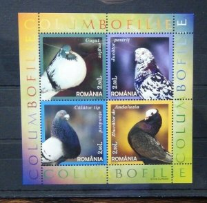 Romania 2005 Domestic Pigeons Miniature Sheet MNH BIRDS