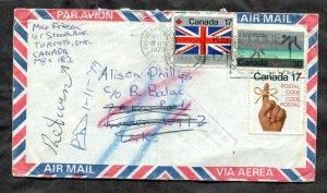 p977 - Canada Toronto 1979 Airmail Cover to England. RETURNED Instructional Mark