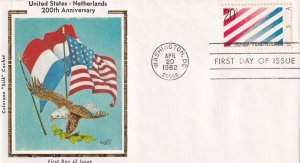 1982, 200th Anniv. US-Netherlands Treaty, Colorano Silk, FDC (E12237)