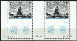 FSAT C55 MNH Margin Gutter Pair - Sailing Ships (1979)