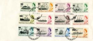 Tristan Da Cunha 1/2p on 1d QEII Flagship of Tristao Da Chunha, 1p on 2d QEII...