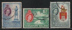Singapore 1955 Elizabeth Pictorial set Sc# 28-42 used