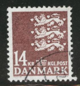 DENMARK  Scott 650 used 14Kr 1982 key  stamp