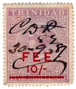(I.B) Trinidad & Tobago Revenue : Fee Stamp 10/- on 5/- OP