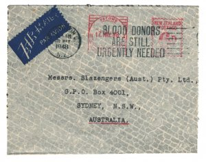 New Zealand 1948 Commercial Cover Meter Postage to Australia