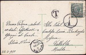 MALTA 1910 1d in circle due on postcard ex Italy............................8841