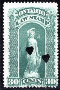 van Dam OL50, used, 30c, 1903, 2 heart punch cancels