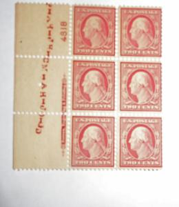#519 2 cent Washington plate block