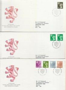 1984-1996 SCOTLAND MACHIN DEFINITIVE FIRST DAY COVERS X9