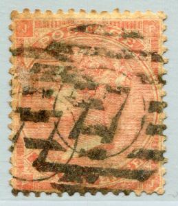 GREAT BRITAIN #34 Fine Used Issue - HEAVY CANCEL -  QUEEN VICTORIA - S7804