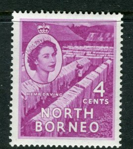 NORTH BORNEO; 1955 early QEII issue fine Mint hinged value, 4c