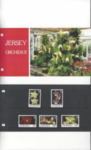 Jersey 442-6 Orchids II 1988 MNH, Presentation Pack