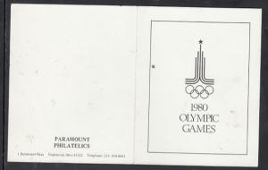 Olympic Games 1980 Philatelic Adveretising w/ Stamp