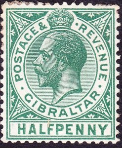GIBRALTAR 1912 KGV 1/2d Blue-Green SG76 MH