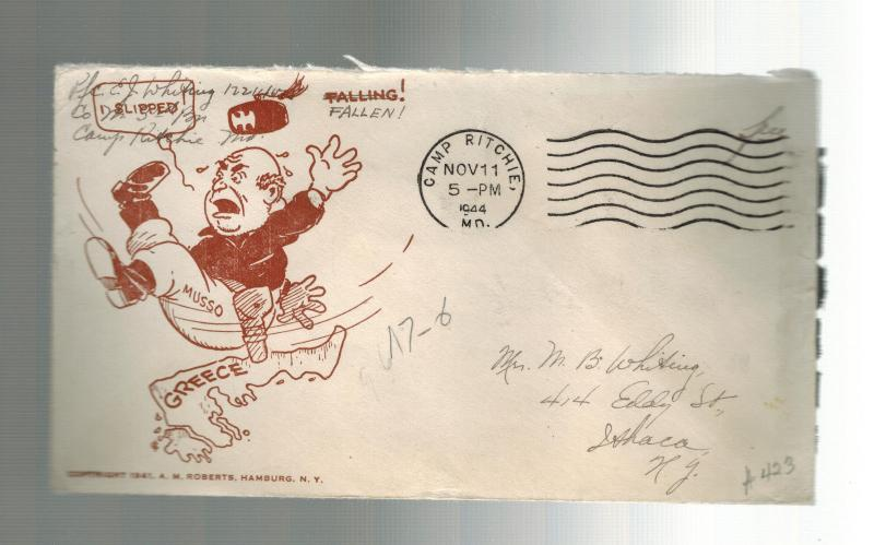1944 USA Patriotic Cover Camp Ritchie MD to Ithaca Mussolini Slips Falls Greece