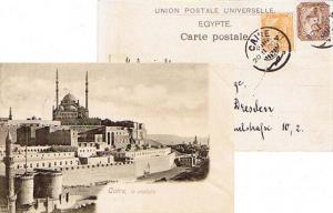 Egypt 1m and 3m Sphinx and Pyramid 1900 Caire PPC (Caire, la citadelle) to Dr...