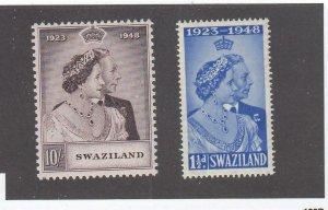 SWAZILAND # 48-49 VF-MH KGV1 1948 SILVER WEDDING ISSUE (SWA1)