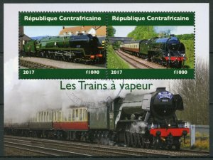 Central African Republic Trains Stamps 2017 CTO Steam Locomotives Rail 2v M/S II