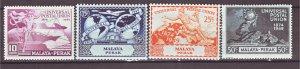 J22362 Jlstamps 1949 malaya-perak set mh #101-4 upu