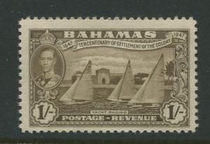 Bahamas - Scott 142 - KGVI Definitive Issue-1948- MLH -Single 1/- Stamp