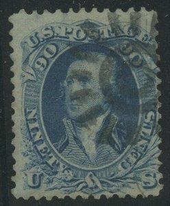 #72 90c 1861 F-VF WITH SAN FRANCISCO COGWHEEL CANCEL CV $575 BV716