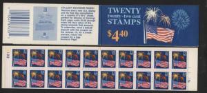 1987 Flag & Fireworks BK156 booklet plate no. 2122  CV $17.50