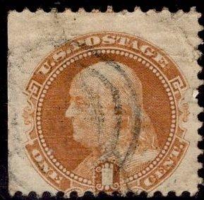 US Stamp #112 1c Buff Franklin USED SCV $130