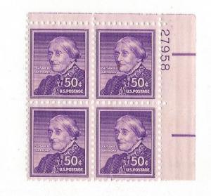 United States, 1051, Susan B. Anthony Upper Right Plt.Blk (4) #27958, MNH