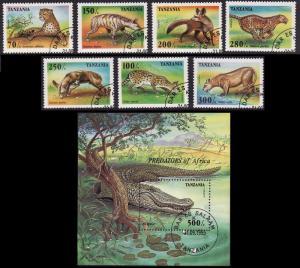 Tanzania Predators 7v+MS CTO SC#1422-1429 MI#2210-2216+Block 302