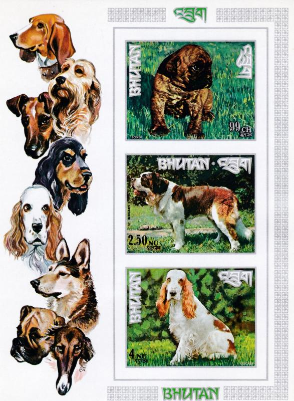 Bhutan 1972 The Regular Issue Mini-Sheet of 3 from the Dogs Issue VF/NH