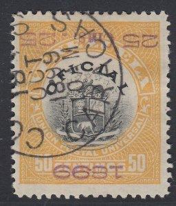 Venezuela 1899 25c on 50c violet o/p invert. Used. Scott O8a, SG O189Ba FORGERY