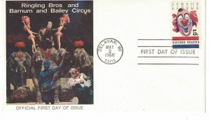 #1309, 5c American Circus, 2 diff. cachets